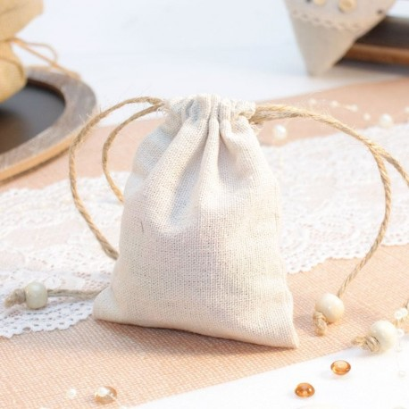 6 sacs à dragées toile de jute pour mariage thème vintage