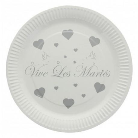 10 Assiettes jetables vive les mariés