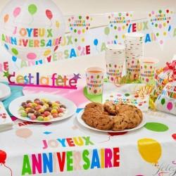 6 sacs joyeux anniversaire multicolore