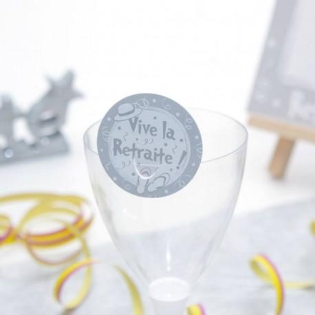 Etiquette clip grise vive la retraite