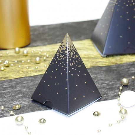 Pyramide Noir et Or, un contenant à dragées pour vos fêtes de fin d'année et Noël
