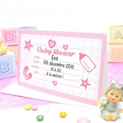Carte d'invitation Baby Shower Rose