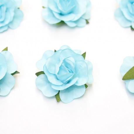 12 Roses autocollantes bleu ciel