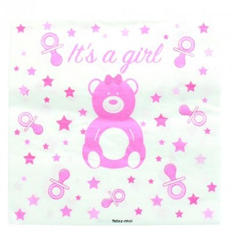 20 serviettes baby shower ou naissance Fille