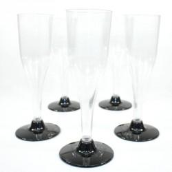 5 Flûtes à Champagne noires en plastique jetable