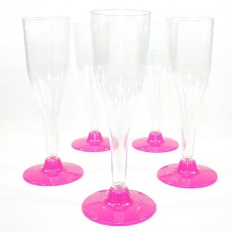 5 Flûtes à Champagne Fuchsia en plastique jetable