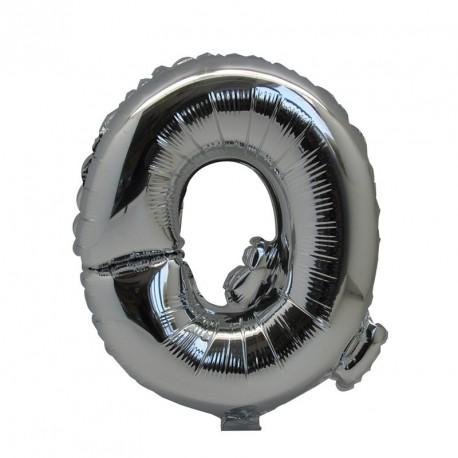 Ballon Lettre Q métal argenté 36cm