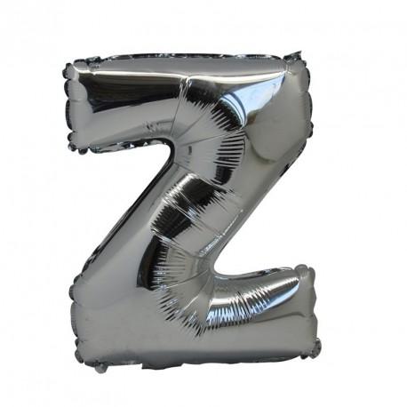Ballon Lettre Z métal argenté 36cm