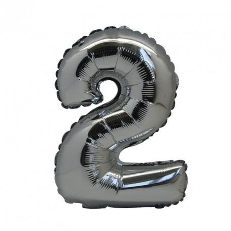 Ballon Chiffre 2 métal argenté 36cm