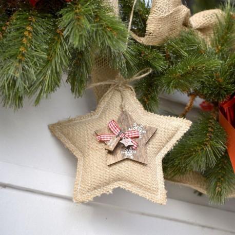 Suspension Noël étoile jute et bois