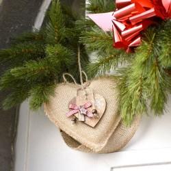 Suspension Noël coeur jute et bois