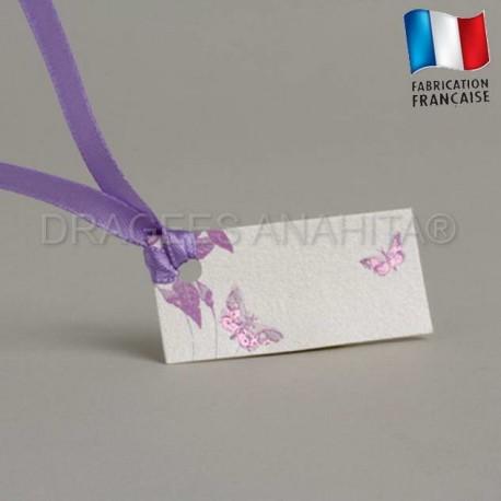 Etiquette à dragées de couleur violet thème papillon