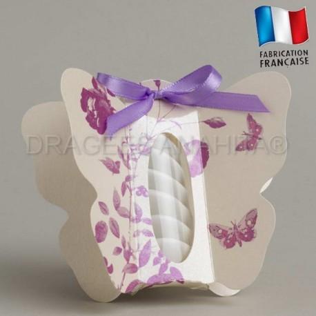 Boite à dragées papillon violet