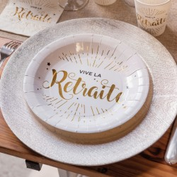 10 Assiettes Vive la retraite, aux impressions de qualité, très résistantes