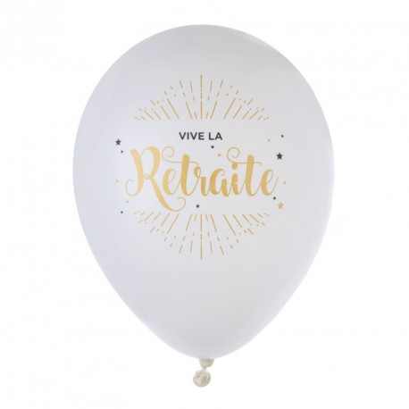"""8 Ballons gonflables imprimés """"Vive la retraite"""""""