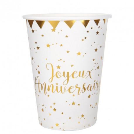 10 Gobelets Joyeux Anniversaire blanc et or très festifs