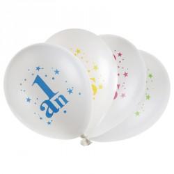 8 ballons Anniversaire 1 An. En latex très résistant. Eléments décoratifs.