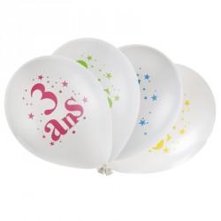 8 ballons Anniversaire 3 ans multicolores pour bien marquer ses 3 ans.