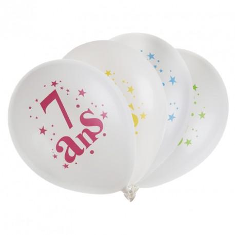 8 ballons Anniversaire 7 ans. Multicolors, très jolis et décoratifs.