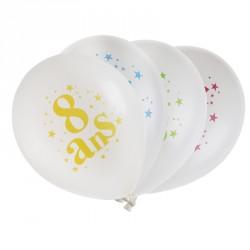 8 ballons Anniversaire 8 ans. En latex très résistant pour organiser des jeux amusants.