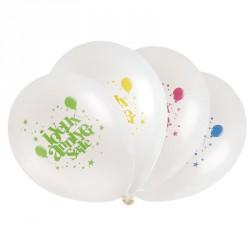 8 ballons Joyeux Anniversaire multicolore. Conviennent bien à tous les anniversaires. Décoratifs et résistants.