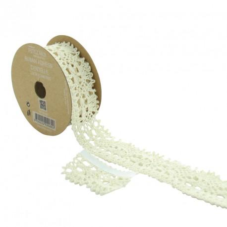 Ruban dentelle blanche adhésif 25 mm. Facile à mettre sur différents supports.