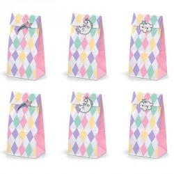 6 Sacs à bonbons thème Licorne. De jolis contenants pour toute sorte de confiseries.