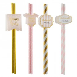 8 Pailles assorties Baby shower rose, décoratives et pratiques.