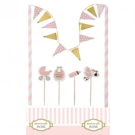 Décor de gâteau rose pour Baby shower. Indispensable pour décorer un gâteau.