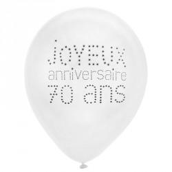 8 Ballons Anniversaire 70 ans décoratifs et créateurs d'ambiance.