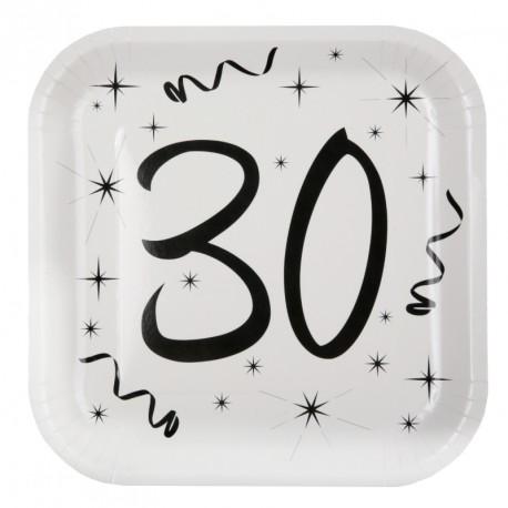 10 Assiettes Anniversaire 30 ans élégantes, résistantes et très pratiques.