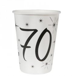 10 Gobelets Anniversaire 70 ans, indipensables pour servir les boissons fraîches.