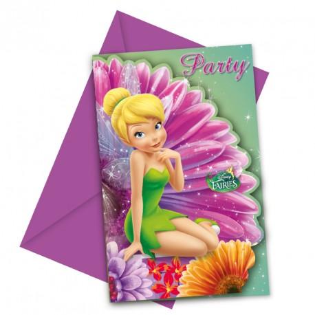6 Cartes d'invitation Fée Clochette + Enveloppe avec une impression impeccable.
