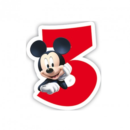 Bougie Mickey Chiffre 3 pour décorer et illuminer autrement le gâteau d'anniversaire.