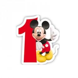 Bougie Mickey Chiffre 1 pour marquer le premier anniversaire de votre bambin.