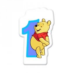 Bougie Winnie l'ourson chiffre 1 pour le tout premier anniversaire.