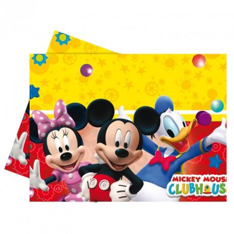 Nappe Mickey 120x180cm en plastique, réutilisable et facile à nettoyer.