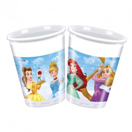 8 Gobelets Princesses Disney 20 cl à la fois décoratives et utiles pour servir les boissons fraîche.
