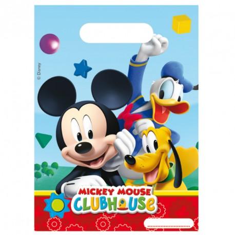 6 Sacs cadeaux Mickey pour suprendre agréablement les petits invités.