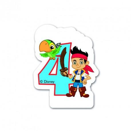 Bougie Jake le Pirate Chiffre 4 pour compléter votre décoration autour du thème des pirates.