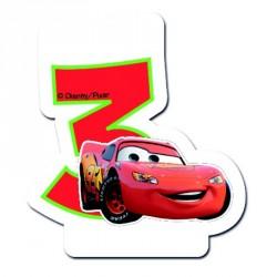 Bougie Cars Chiffre 3 pour décorer vos gâteaux d'anniversaire.
