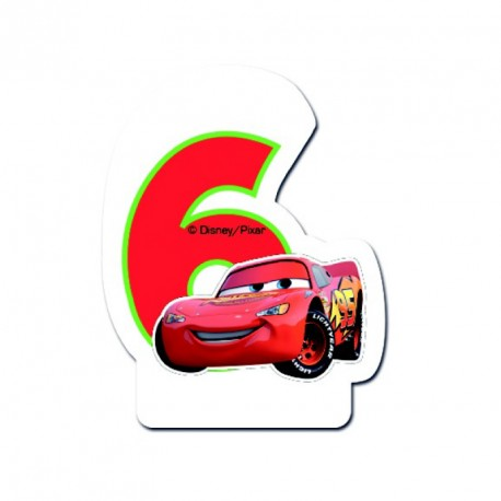 Bougie Cars Chiffre 6 pour marquer la célébration des 6 ans de votre petit garçon.