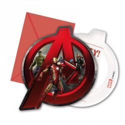 6 cartes d'invitation Avengers + Enveloppe de forme très originale.