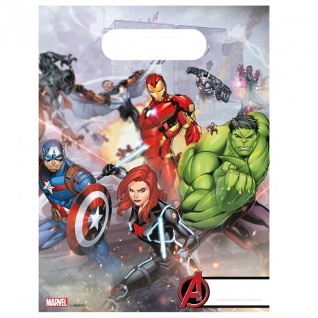 6 Sacs cadeaux Avengers pour offrir en retour des surprises à vos invités.
