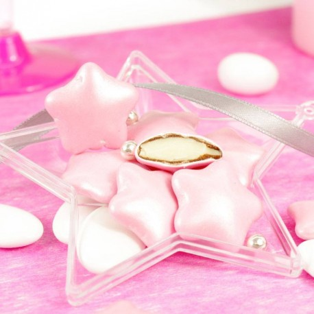6dcae27d375a9 Dragées rose en forme d étoile pour baptême et naissance - Dragées ...