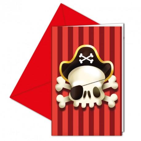 6 cartes d'invitation Pirate + Enveloppe pour inviter les copains de manière amusante à un anniversaire.