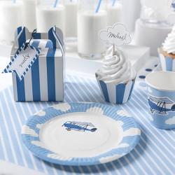 6 Assiettes Avion en carton pour déguster le gâteau d'anniversaire de votre enfant.