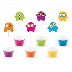 6 Cupcakes Petits Monstres pour rendre la fête plus ludique.