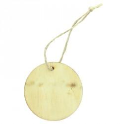6 Etiquettes rondes en bois avec cordelette. A la fois décoratives et très pratiques comme éléments de décoration au naturel.