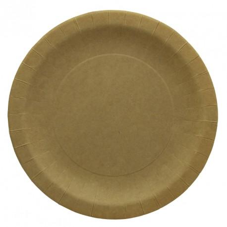10 Assiettes en Carton Kraft 23cm. Indispensables et très utiles, ce sont des accessoires très résistants.